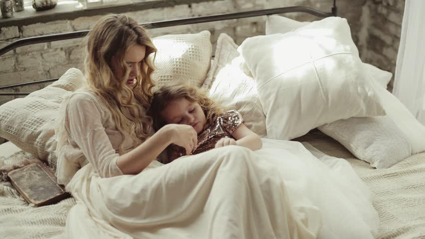 Sleeping Girl Wakes Up Stock Footage Video 917389 -1346