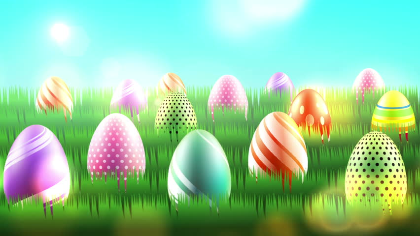 Easter Title Background. A Few Easter Eggs And Some Pink