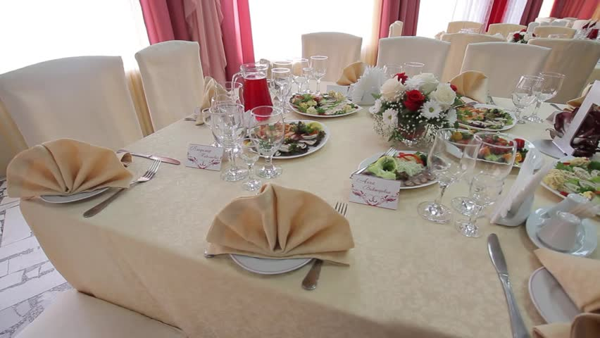 Wedding Very Nicely Decorated Table Modern Style. Beautiful Flowers On Table  In Wedding Day With