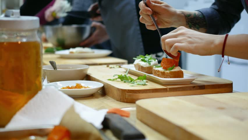 Cooking class, trainees learning in the kitchen. | Shutterstock HD Video #24911663