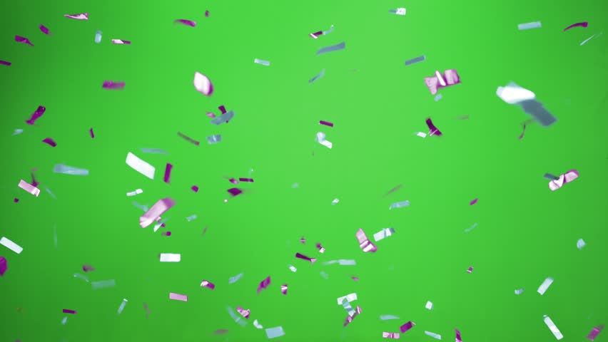 Real Confetti falling  soft and beautiful in the colors light blue and purple with  Green screen for party and celebrations | Shutterstock HD Video #24915953