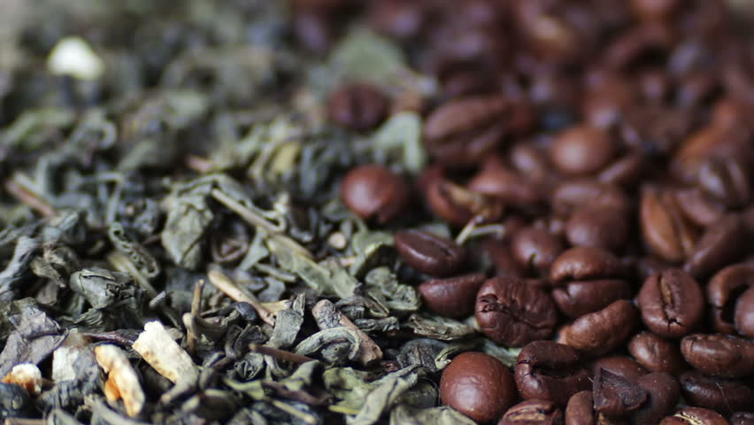 Green Tea Coffee Beans Anise And Sticks Cinnamon Close Up Loop Rotation Front Of