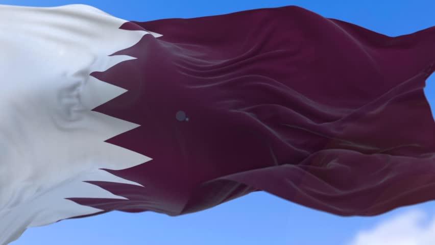 Amazing waving Qatari flag on slow motion.
