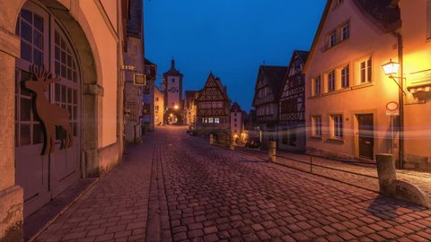 ROTHENBURG OB DER TAUBER, GERMANY - february 20, 2017: Timelaps video of Main square in old town Rothenburg ob der Tauber, Bavaria, Germany. Timelapse view in 4K.