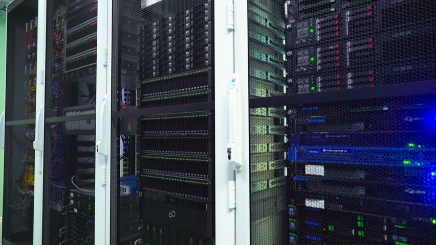 Server room , Data Center. Fragments of active Network Equipment | Shutterstock HD Video #24988847