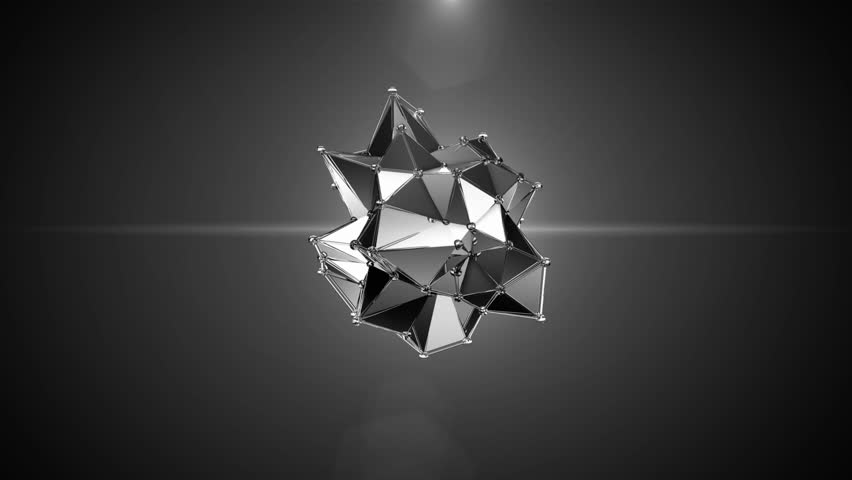 Seamless 3D abstract animation of geometric atomic shape bond moving and changing motion graphic. Atom or molecule element bond in metallic texture transform in black light background in 4k.