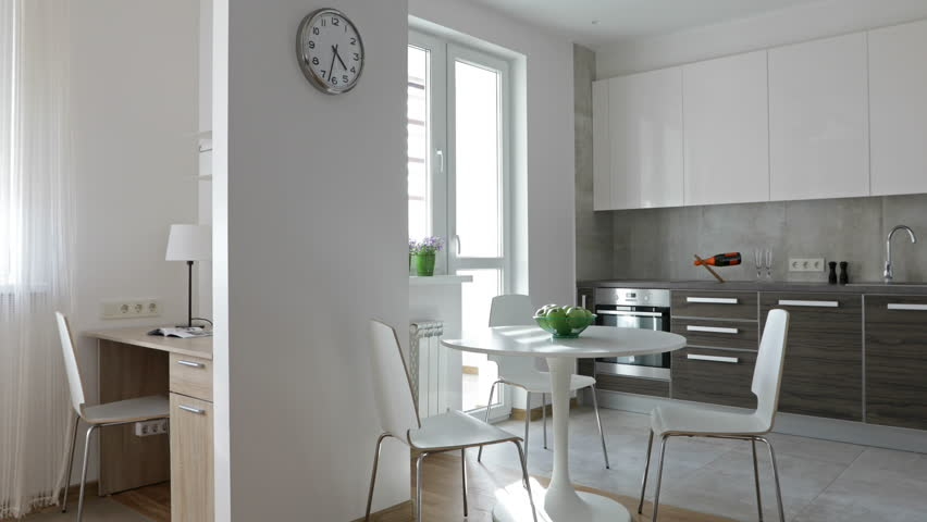 4K Interior Of Modern Apartment In Scandinavian Style With Kitchen And Workplace Motion Panoramic
