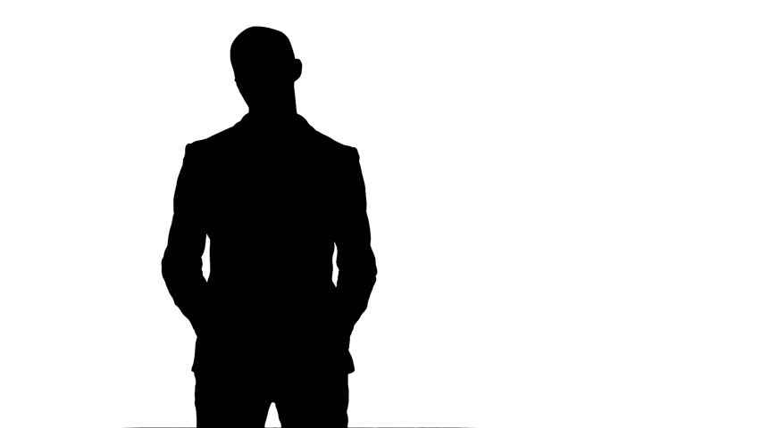 Man Thinking With Pen Silhouette White Stock Footage