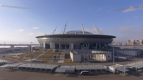 Russia, Saint-Petersburg, 16 March 2017: Aerial view of Construction of the stadium Zenit arena, most expensively in the world, the FIFA World Cup in 2018, stadium roof, sunny day