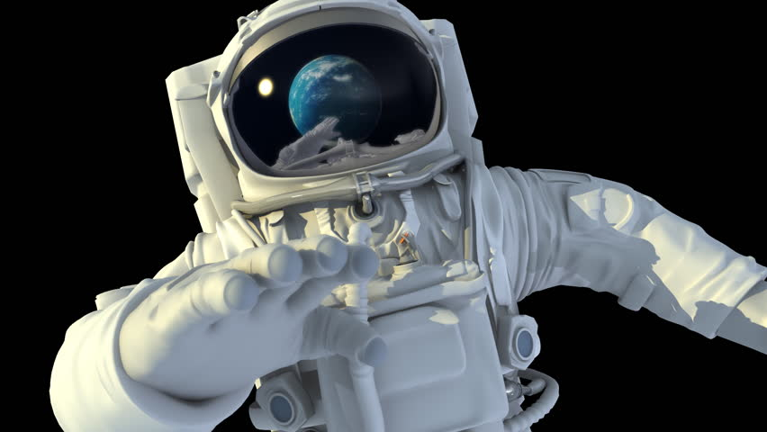 Astronaut in open space. 3d animation.
