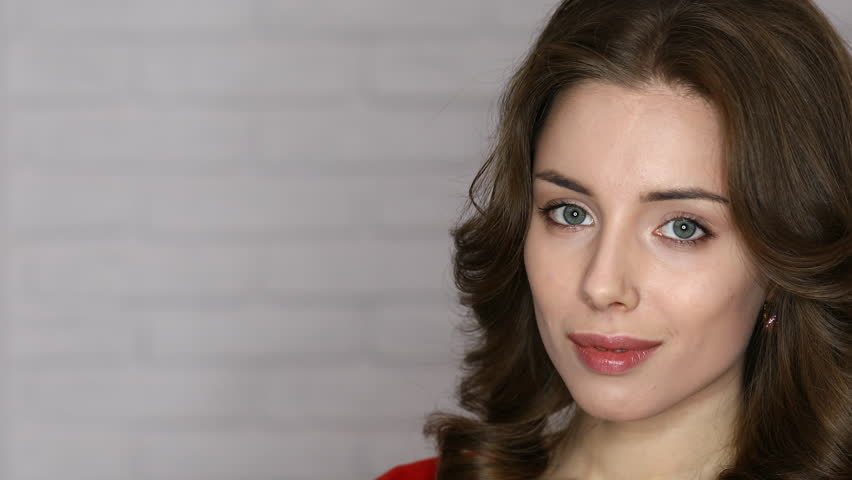 Ring LED flash. Make up portrait of a young beautiful brunette woman | Shutterstock HD Video #25084250