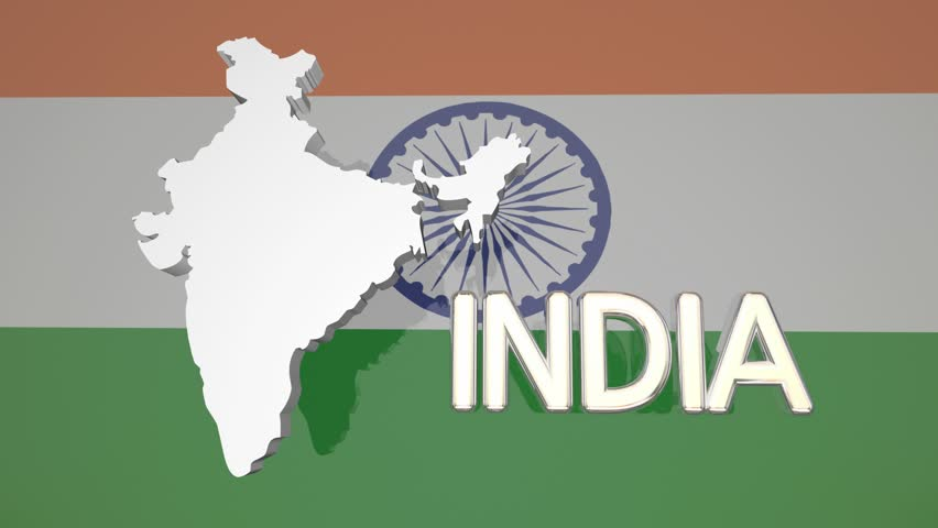 India Flag Map: Map And Flag Of India. Animated Background Stock Footage