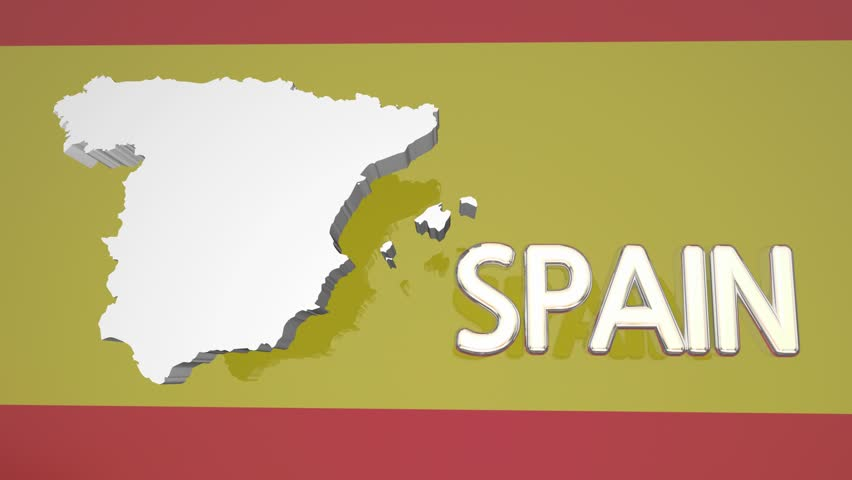 Spain Country Nation Map Europe Flag 3d Animation