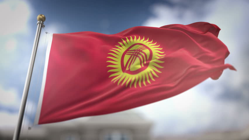 Kyrgyzstan Flag Waving Slow Motion 3D Rendering Blue Sky Background - Seamless Loop 4K