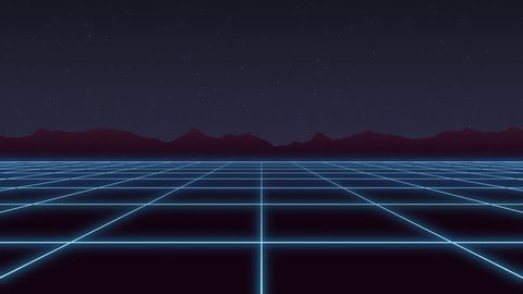 Retro 80s neon grid in a stylized purple starry night. looping background animation
