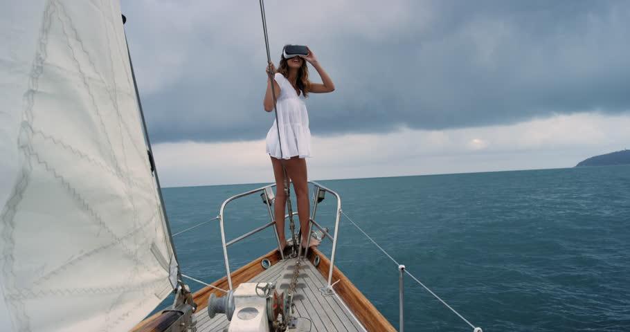 Girl With Long Hair Enjoying A Cruise On A Sailing Yacht -8526