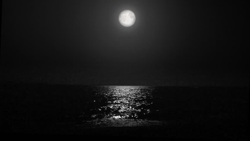 night moon and moonbeam in sea