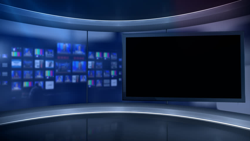 Virtual Tv Studio Set With Main Monitor Blurred