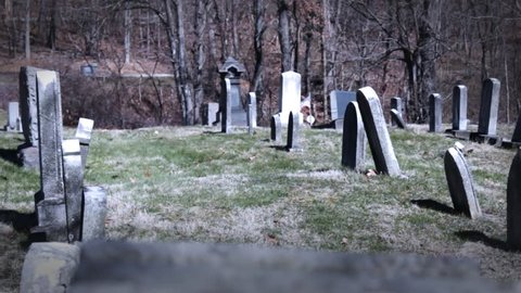 old creepy pan through graveyard.  use for any horror films,drama films, as a establishing shot.  Or anything else.