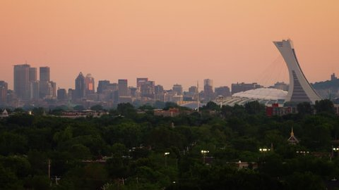 Tight shot of Olympic Stadium and Montreal City Skyline