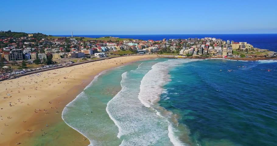 Aerial view of Bondi Beach or Bondi Bay at sunny day in Sydney