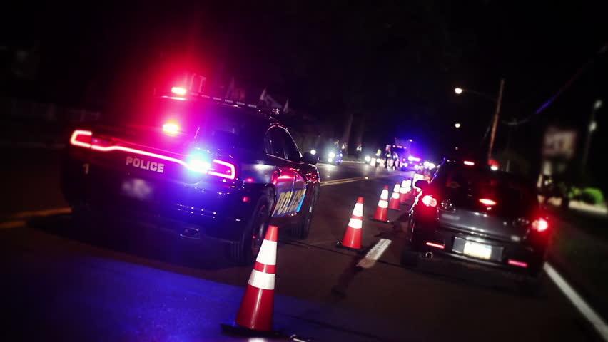 A sobriety police checkpoint.