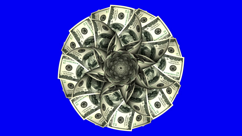 American Dollars In The Form Of A Blossoming Flower On Blue Screen.4K. Looped. 3D Animation. 3840x2160.