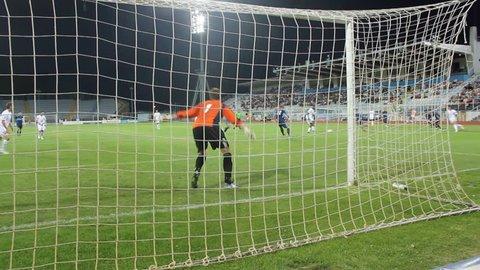 RIJEKA, CROATIA - JULY 14: soccer match between HNK Rijeka and NK Sampion Celje (friendly match) 2012 in Rijeka, Croatia. Josip Brezovec (Rijeka) scores the goal.