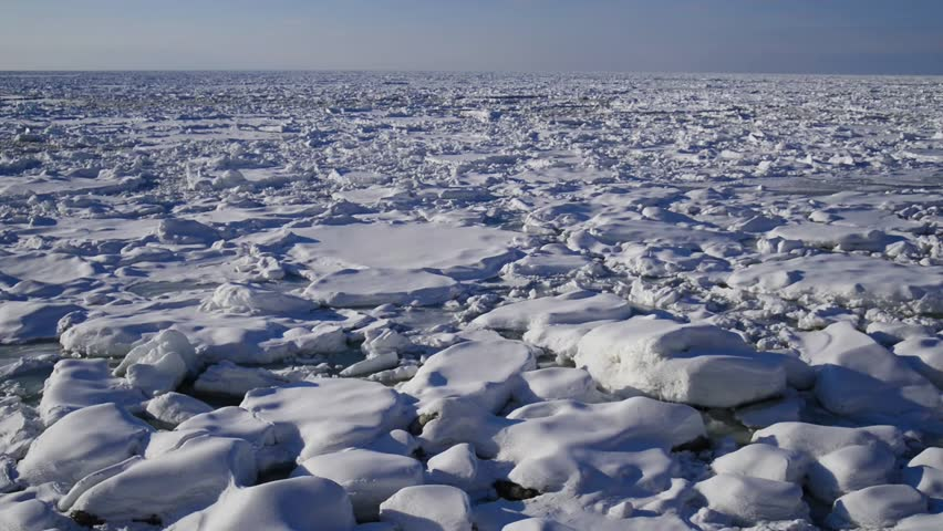 The Sea of Okhotsk that was covered by drift ice of the evening