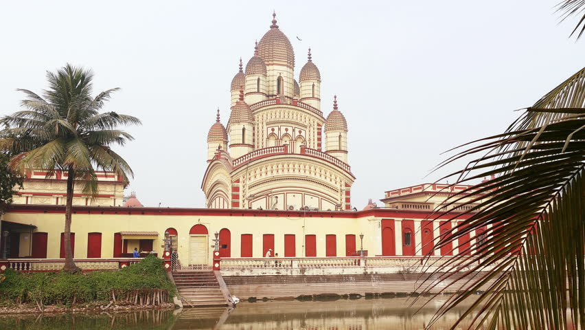 Hindu Dakshineswar Kali temple at sunrise in Kolkata, india.