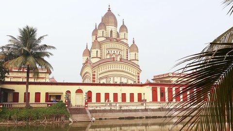 Hindu Dakshineswar Kali temple at sunrise in Kolkata, india.