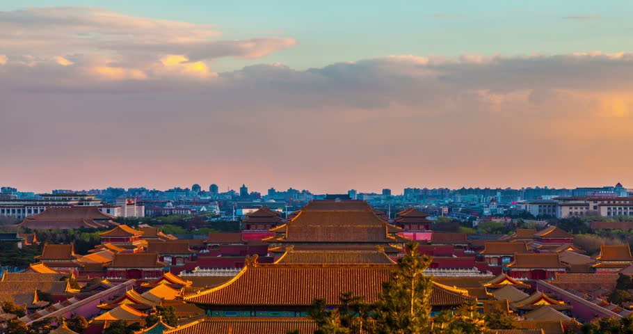 Forbidden City panorama, Beijing, China. 4k Timelapse