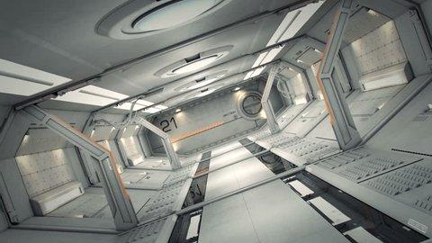 fly 3D rendering of realistic sci-fi spaceship corridor