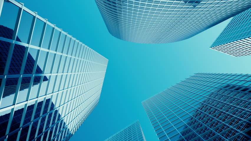 Skyscrapers with blue glass, high rise building, skyscrapers, business concept of successful industrial architecture. 3d animation | Shutterstock HD Video #25419353