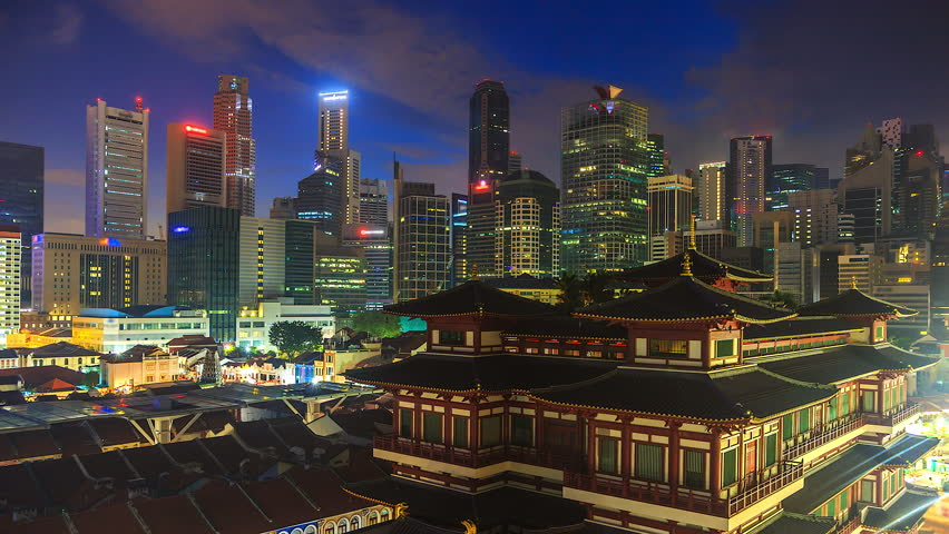4K.Time lapse sunrise at Chinese Temple Buddha Tooth Relic, Old Chinatown district of Singapore