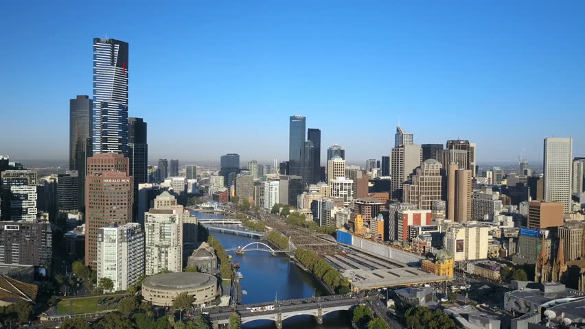 Melbourne, Australia - March 1, 2017: Aerial video of Melbourne CBD