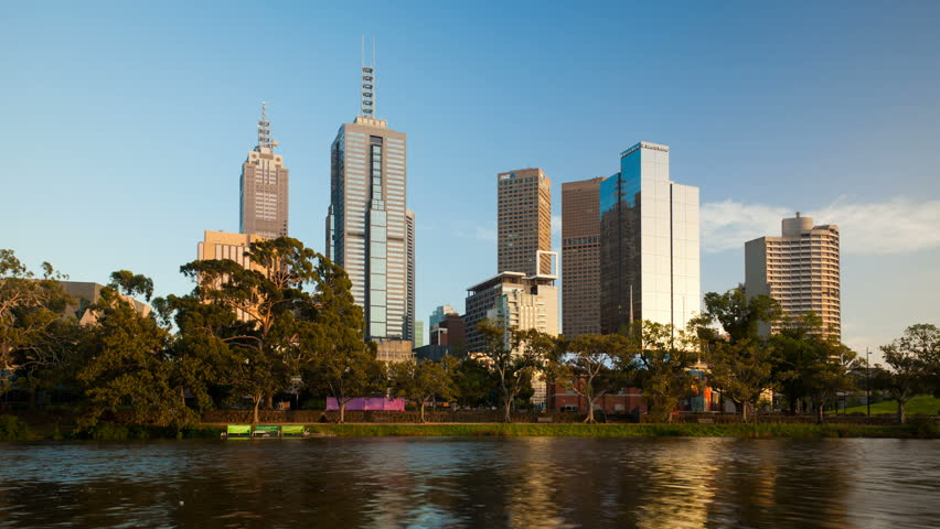 MELBOURNE - JAN 10: Timelapse view of the melbourne city Skyline at dawn on January 10, 2012 in Melbourne, Australia