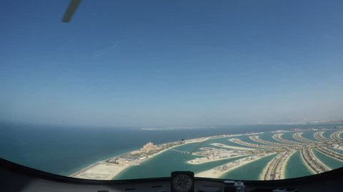 Gyrocopter Aerial view of Luxury Shopping Centre, Golden Mile, Palm Jumeirah, Dubai, UAE