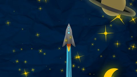 Cartoon Flat rocket flying up though clouds, Moon and Planets. From day to night.