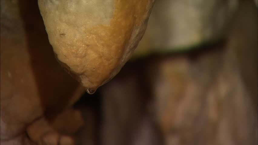 Closeup drop of water hanging on tip of stalactite in cave