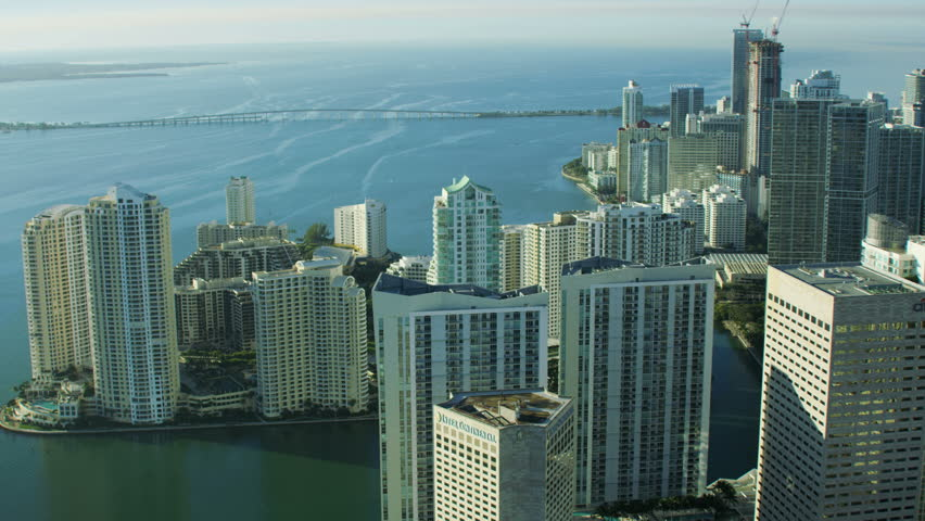 Miami, USA - February 2017: Aerial overhead view at sunrise of Downtown Brickell Key Waterfront Condominium resort Florida USA RED WEAPON   Shutterstock HD Video #25499873