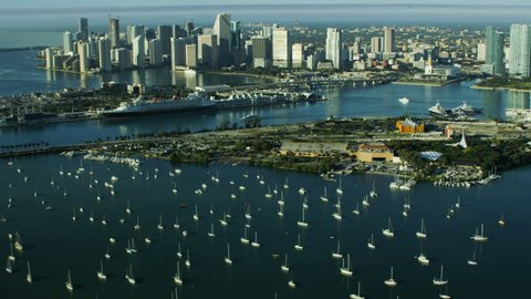 Miami, USA - February 2017: Aerial sunrise view MacArthur Causeway and Cruise Terminal Biscayne Bay Florida America RED WEAPON
