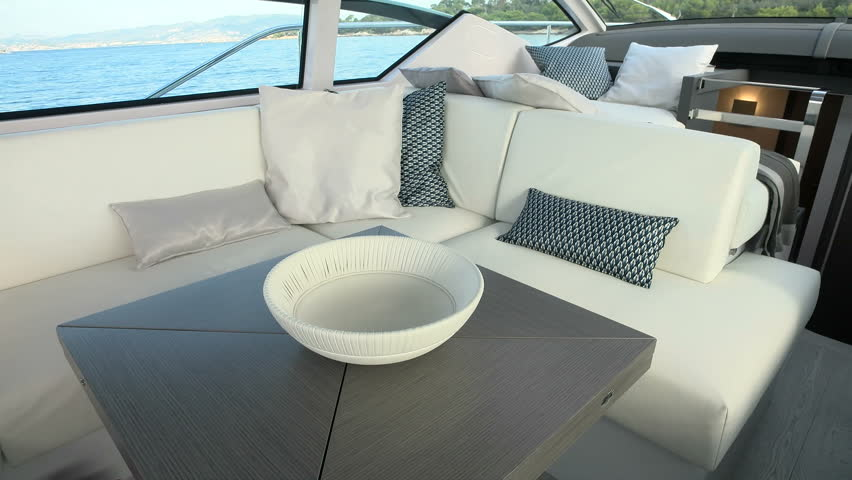 Sofa And Small Table A Luxury Yacht Stock Footage Video