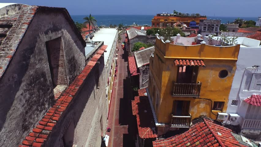 Aerial Cartagena Colombia Colonial City Day 04