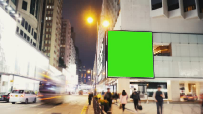 A Billboard with a Green Screen on a Evening Streets.Time Lapse | Shutterstock HD Video #25551593