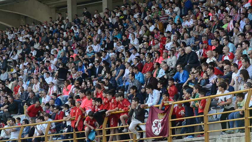 LEON, SPAIN - MARCH 2017. Soccer fans. Supporters of Cultural y Deportiva Leonesa. Soccer match between Racing and Cultural (Spanish League).