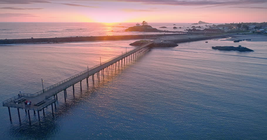 Aerial Drone View Flying Over pier in crescent city, california