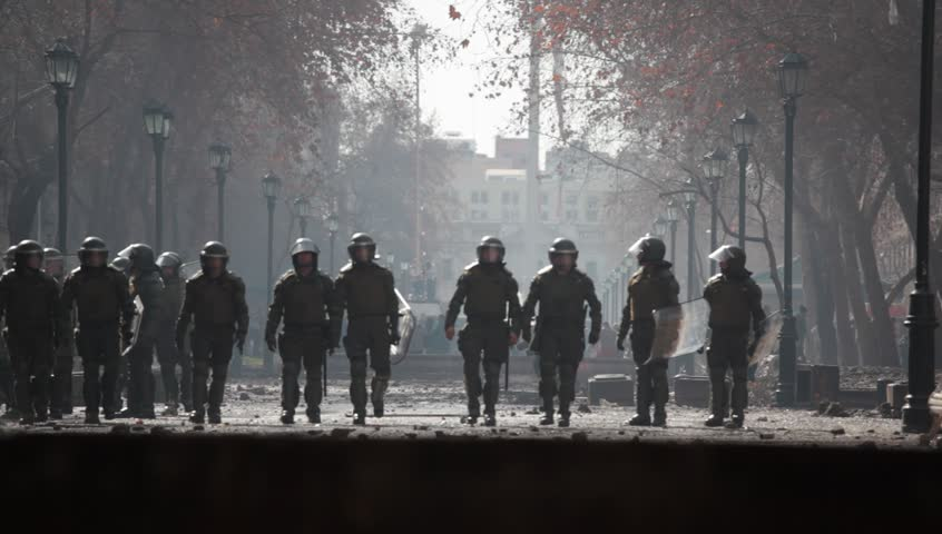 SANTIAGO, CHILE - AUGUST 9: Chilean riot disperse protesters during a student strike on August 9, 2011 in Santiago, Chile.