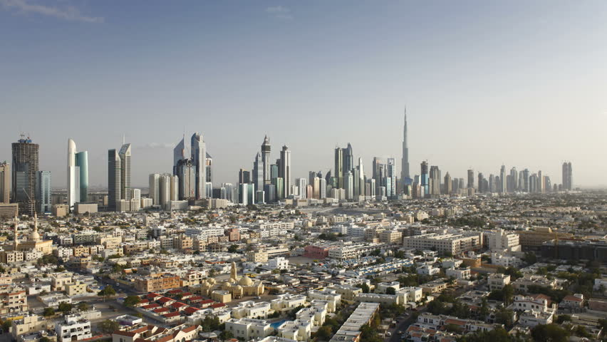 an elevated view of the new Dubai skyline of modern architecture and skyscrappers on Sheikh Zayed Road, UAE