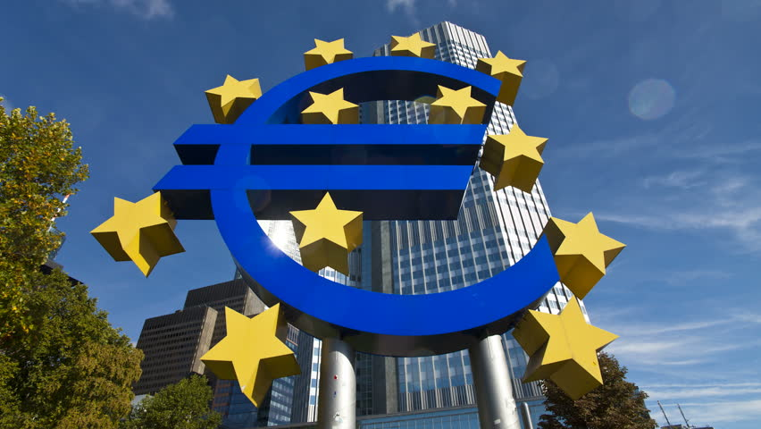 Euro currency sign in front of the European Central Bank in Frankfurt Germany